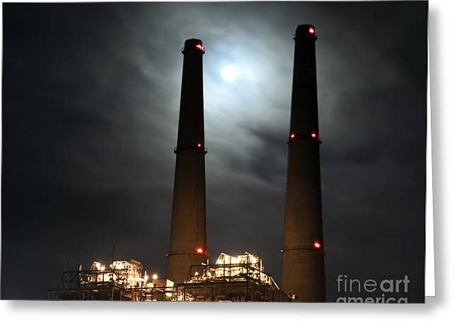 Moss Landing California Greeting Cards - Power Plant Towers at Night Greeting Card by David Buffington