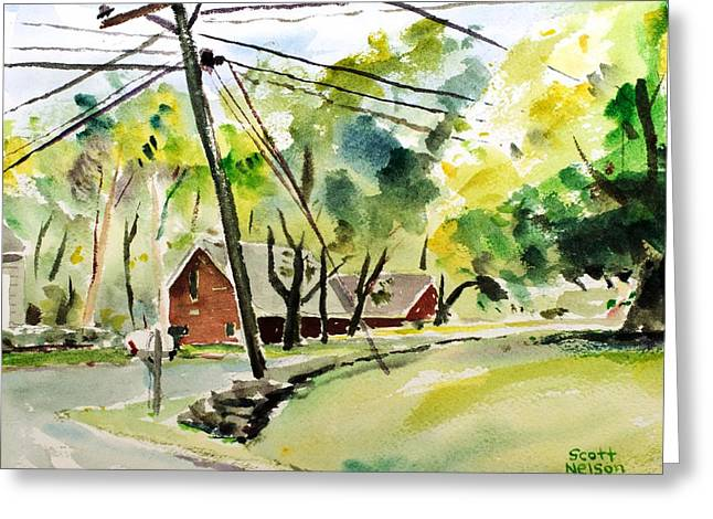 Scott Nelson Paintings Greeting Cards - Power Pole Greeting Card by Scott Nelson
