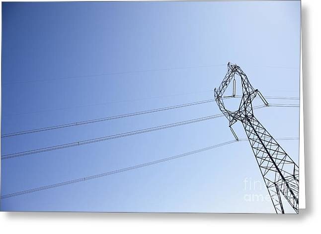 Electric Pylon Greeting Cards - Power Pylon with Power Lines Greeting Card by Jetta Productions, Inc