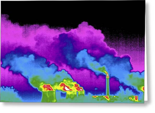 Power Station, Thermogram Greeting Card by Tony Mcconnell
