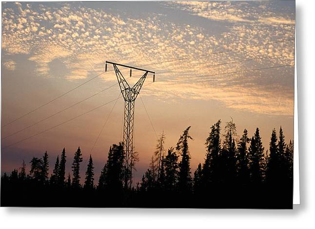 Power Tower And Sunset, Wood Buffalo Greeting Card by Raymond Gehman