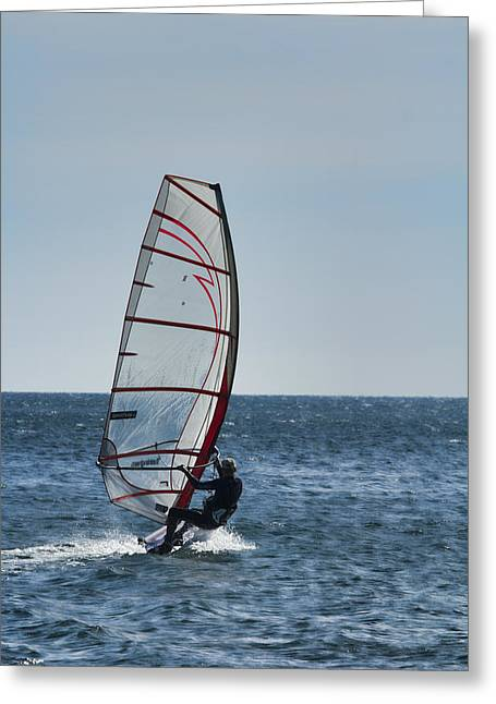 Windsurfer Greeting Cards - Powered by Wind Greeting Card by Douglas Barnard