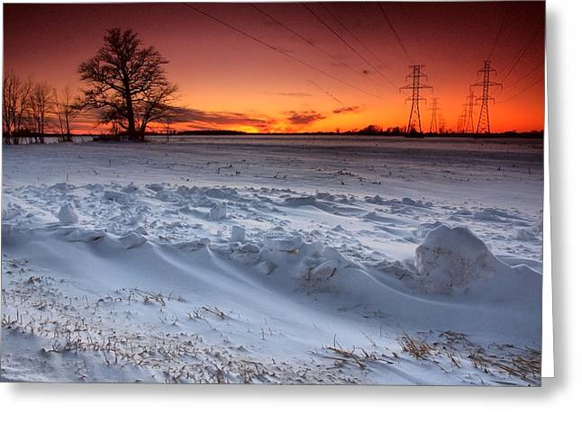 Snow Scenes Greeting Cards - Powerlines in Winter Greeting Card by Cale Best