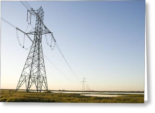 Solano Photographs Greeting Cards - Powerlines Jepson Prairie Preserve Greeting Card by Sebastian Kennerknecht