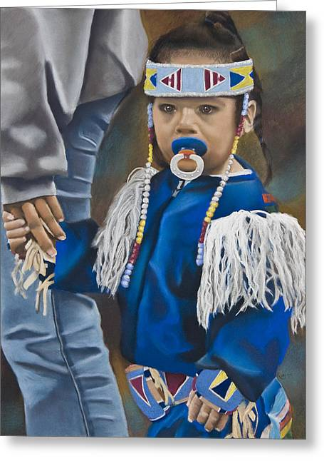 Wow Pastels Greeting Cards - PowWow Dancer Greeting Card by Kym Nippes