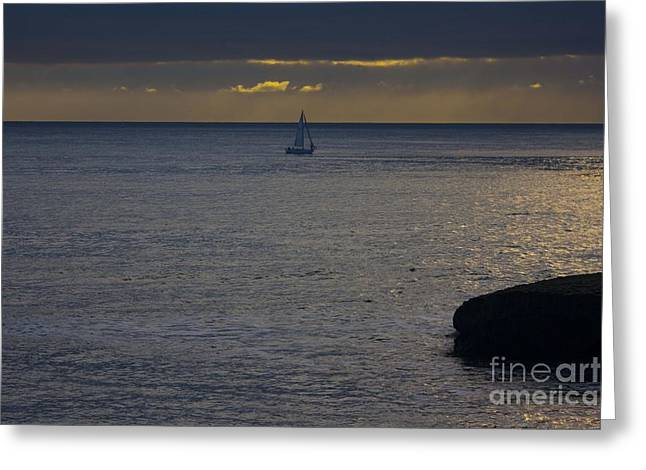 Best Sellers -  - Santa Cruz Sailboat Greeting Cards - pr 237 - Evening Sail Greeting Card by Chris Berry