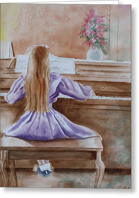 Patsy Sharpe Paintings Greeting Cards - Practice Makes Perfect Greeting Card by Patsy Sharpe
