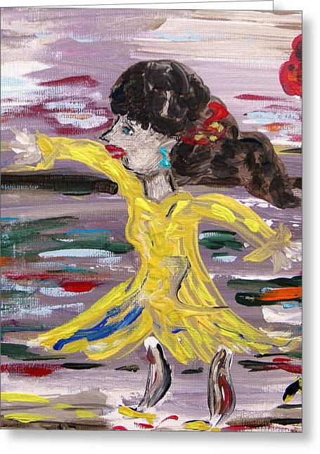 Dance Floor Paintings Greeting Cards - Practice Modern Dance Greeting Card by Mary Carol Williams
