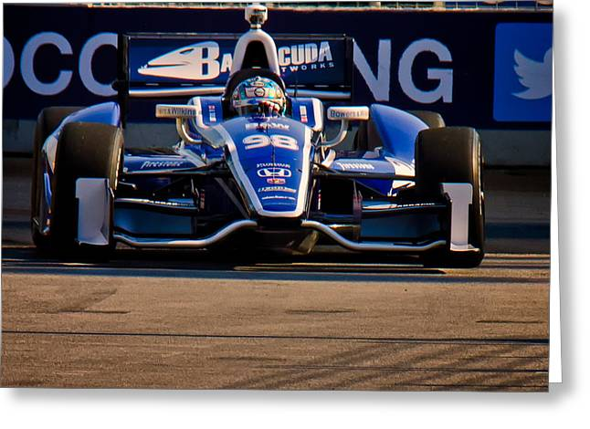 Indy Car Greeting Cards - Practice Run Greeting Card by Glenn Thompson