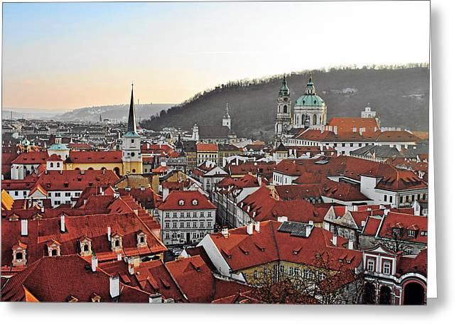 Travel Prague Greeting Cards - Prague - A story told by rooftops Greeting Card by Christine Till