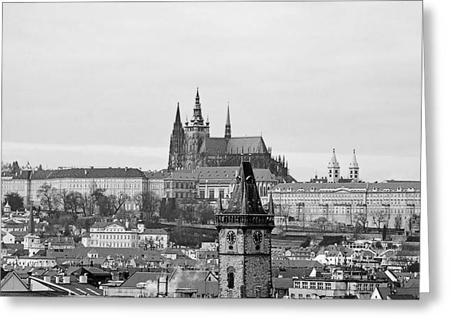 Medieval Temple Greeting Cards - Prague - City of a Hundred Spires Greeting Card by Christine Till