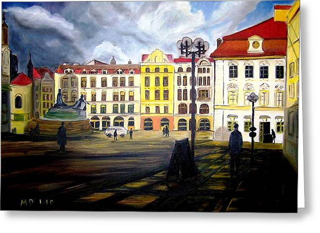Prague Paintings Greeting Cards - Prague - Old Town Square at Dusk Greeting Card by Madeleine Prochazka
