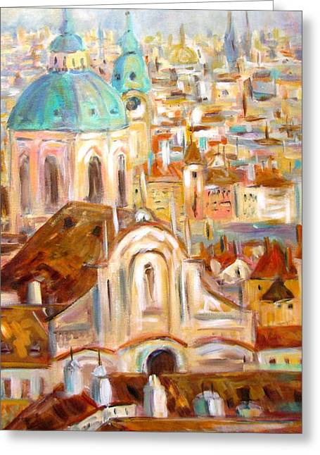 Prague Paintings Greeting Cards - Prague Greeting Card by Alina Vidulescu