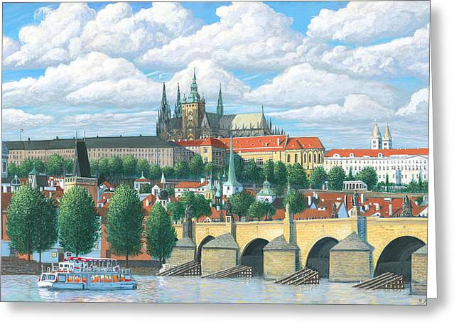 Prague Paintings Greeting Cards - Prague and the St. Charles Bridge Greeting Card by Patrick Funke