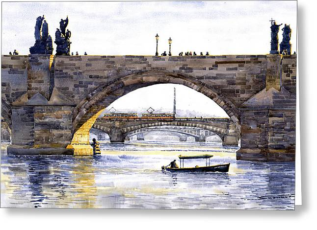 Charles Bridge Paintings Greeting Cards - Prague Bridges Greeting Card by Yuriy  Shevchuk