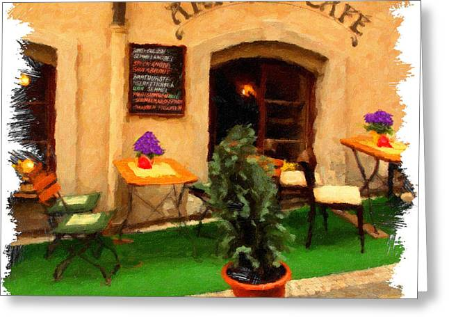 Czech Republic Photographs Digital Greeting Cards - prague Cafe Greeting Card by Martin  Fry