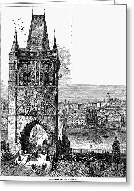 Prague Towers Greeting Cards - Prague: Carlsbridge Greeting Card by Granger
