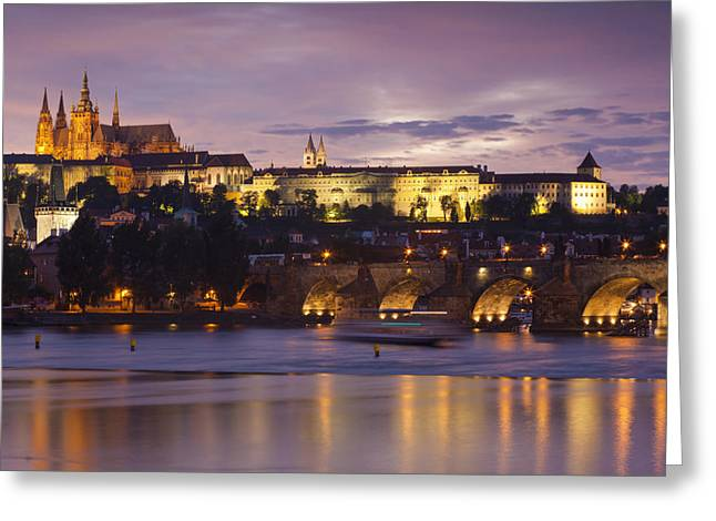 Medieval Clock Greeting Cards - Prague Castle and Charles Bridge Greeting Card by Andre Goncalves