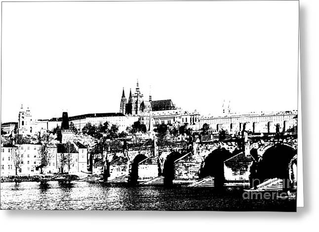 Townscape Digital Art Greeting Cards - Prague castle and Charles bridge Greeting Card by Michal Boubin