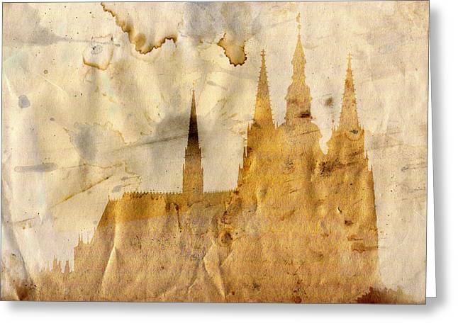 Steeple Mixed Media Greeting Cards - Prague castle Greeting Card by Michal Boubin