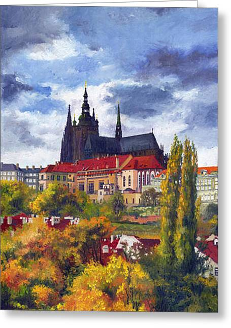 Architectural Paintings Greeting Cards - Prague Castle with the Vltava River Greeting Card by Yuriy  Shevchuk