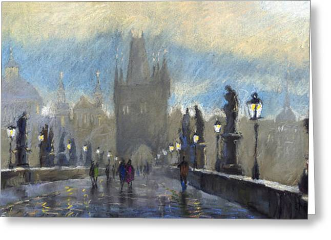 Europe Pastels Greeting Cards - Prague Charles Bridge 06 Greeting Card by Yuriy  Shevchuk