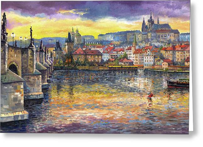 Landscape Bridge Greeting Cards - Prague Charles Bridge and Prague Castle with the Vltava River 1 Greeting Card by Yuriy  Shevchuk