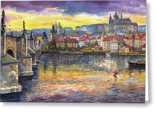 Prague Charles Bridge and Prague Castle with the Vltava River 1 Greeting Card by Yuriy  Shevchuk