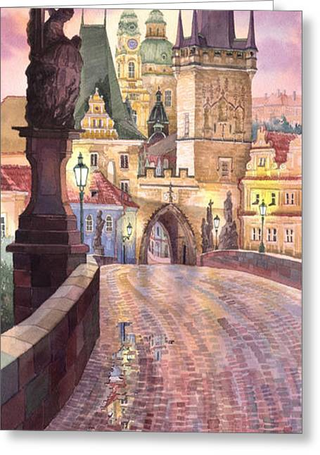 Old Light Greeting Cards - Prague Charles Bridge Night Light 1 Greeting Card by Yuriy  Shevchuk
