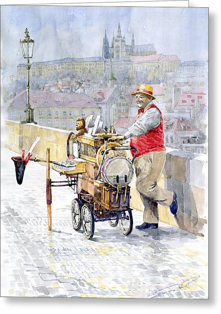 Watercolour Paintings Greeting Cards - Prague Charles Bridge Organ Grinder-Seller Happiness  Greeting Card by Yuriy  Shevchuk