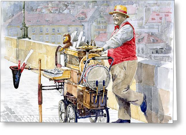 Prague Charles Bridge Organ Grinder-Seller Happiness  Greeting Card by Yuriy  Shevchuk