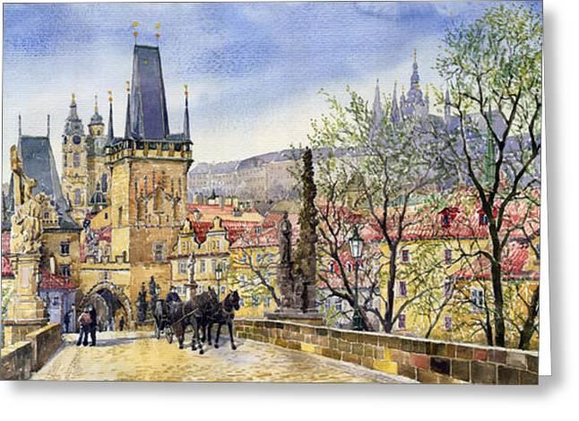 Prague Charles Bridge Spring Greeting Card by Yuriy  Shevchuk