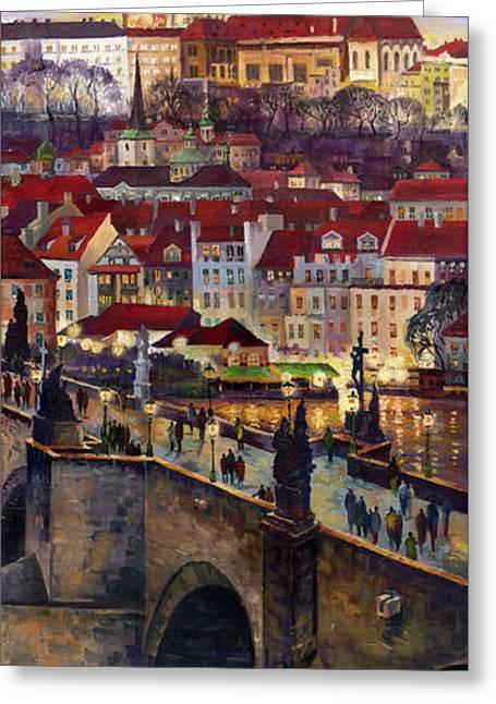 Charles Greeting Cards - Prague Charles Bridge with the Prague Castle Greeting Card by Yuriy  Shevchuk