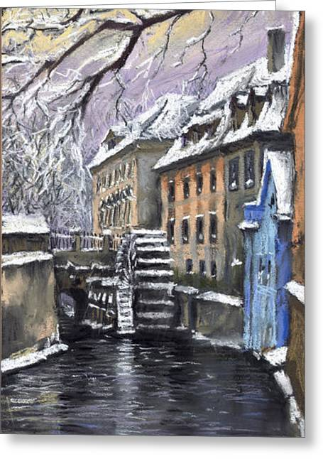 Europe Pastels Greeting Cards - Prague Chertovka Winter Greeting Card by Yuriy  Shevchuk