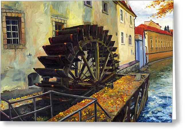 Prague Paintings Greeting Cards - Prague Chertovka Greeting Card by Yuriy  Shevchuk