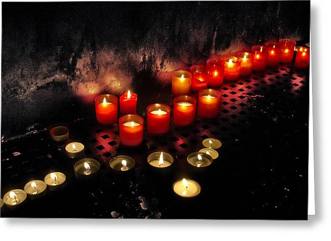 Interior Scene Photographs Greeting Cards - Prague Church Candles Greeting Card by Stylianos Kleanthous