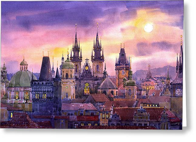 Old Paintings Greeting Cards - Prague City of Hundres Spiers variant Greeting Card by Yuriy  Shevchuk