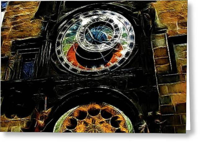 Prague Clock Greeting Card by Joan  Minchak