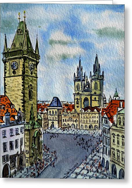 Town Square Greeting Cards - Prague Czech Republic Greeting Card by Irina Sztukowski