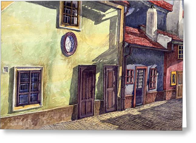 Europe Greeting Cards - Prague Golden Line Street Greeting Card by Yuriy  Shevchuk