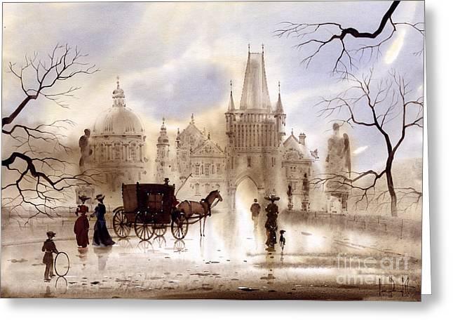 Prague Paintings Greeting Cards - Prague III Greeting Card by Svetlana and Sabir Gadghievs