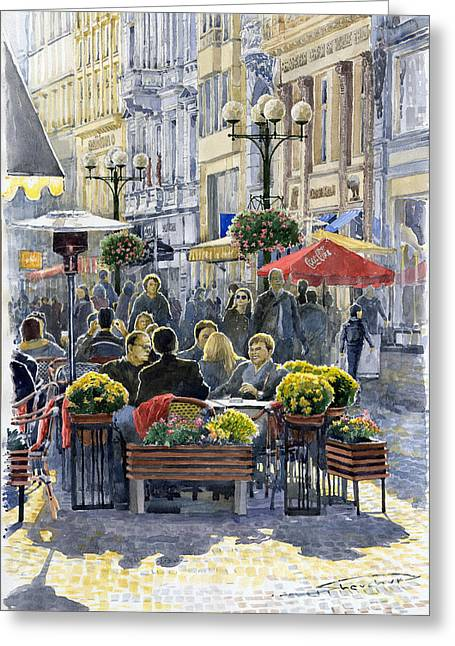 Europe Greeting Cards - Prague Mustek First Heat Greeting Card by Yuriy  Shevchuk
