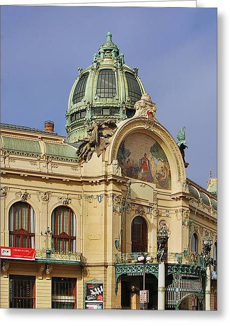 Glass Facade Greeting Cards - Prague Obecni dum - Municipal House Greeting Card by Christine Till