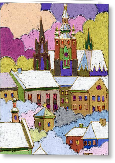 Roof Greeting Cards - Prague Old Roofs Prague Castle Winter Greeting Card by Yuriy  Shevchuk