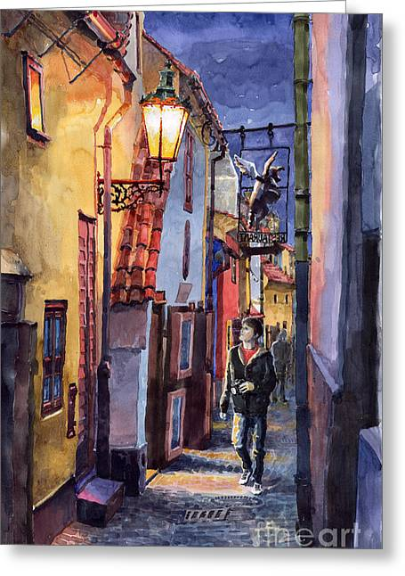 Watercolour Paintings Greeting Cards - Prague Old Street Golden Line Greeting Card by Yuriy  Shevchuk
