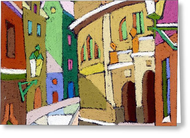 Prague Old Street Karlova Winter Greeting Card by Yuriy  Shevchuk