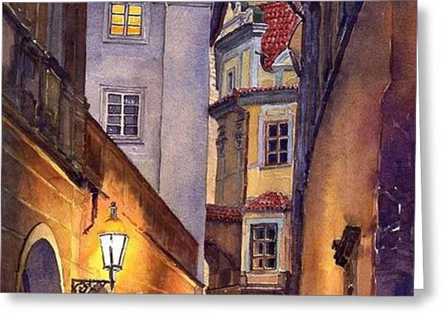 Prague Old Street  Greeting Card by Yuriy  Shevchuk
