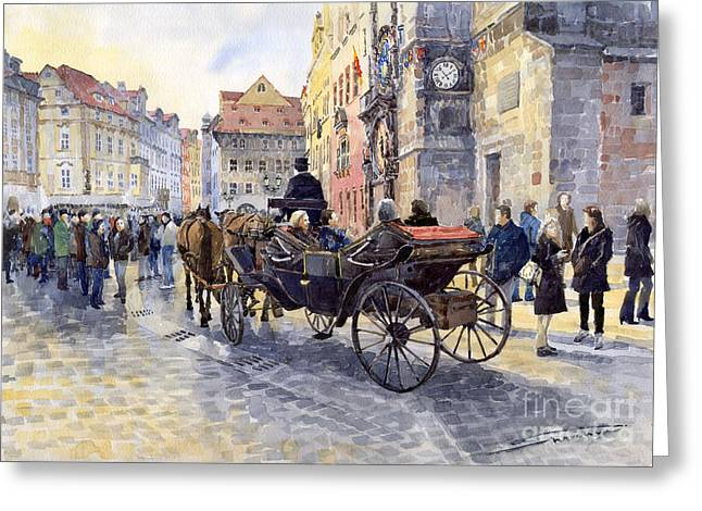 Prague Old Town Hall and Astronomical Clock Greeting Card by Yuriy  Shevchuk