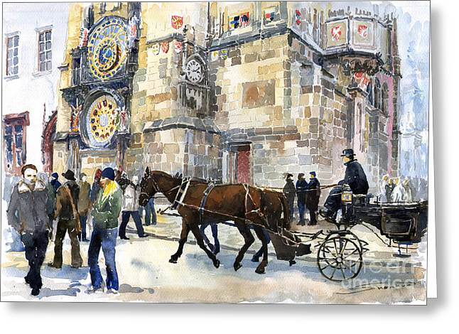 Town Square Greeting Cards - Prague Old Town Square Astronomical Clock or Prague Orloj  Greeting Card by Yuriy  Shevchuk