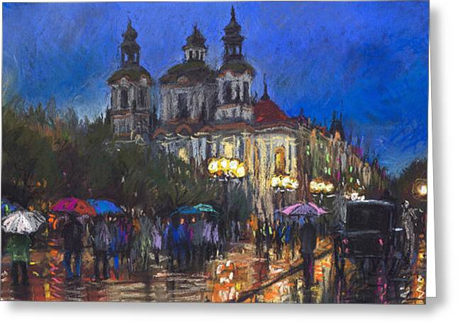 Europe Pastels Greeting Cards - Prague Old Town Square St Nikolas Ch Greeting Card by Yuriy  Shevchuk